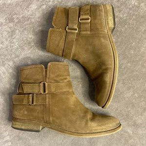 Franco Sarto tan suede booties with buckles Sz 8
